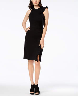 Bar III Ruffle Ponte-Knit Sheath Dress