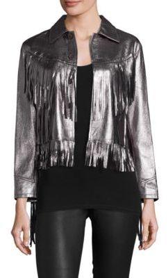 Polo Ralph Lauren Metallic Leather Fringe Jacket $1,698 thestylecure.com