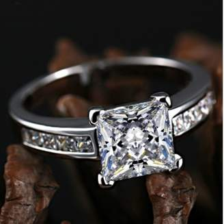Ring 18k White Gold Gp Austian Crystal AAA Zircon Square Lady Bridal Wedding Engagement R26