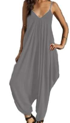 Roper YACUN Women's Spaghetti Strap Loose Overall Romper Harem Jumpsuit XL
