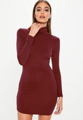 Missguided Burgundy Turtle Neck Dress