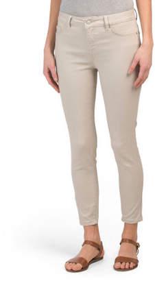 High Waist Sateen Ankle Jeans