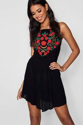 boohoo Square Neck Embroidered Skater Dress