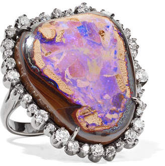 Kimberly McDonald - 18-karat Blackened Rose Gold, Diamond And Opal Ring