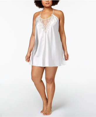 Flora Nikrooz Flora by Plus Size Stella Charmeuse Floral-Embroidered Chemise
