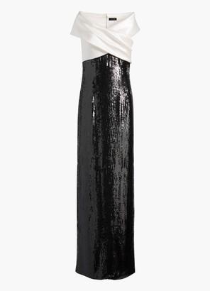 St. John Liquid Satin Off The Shoulder Gown