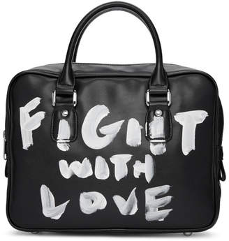 Comme des Garcons Black Faux-Leather Hand-Painted Bag
