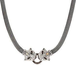 JAI Sterling Silver Figural Double Leopard HeadMesh Necklace