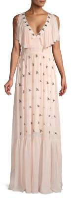 Temperley London Starling Ruffle V-Neck Gown
