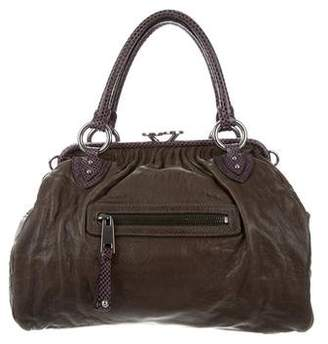 Marc Jacobs Snakeskin-Trimmed Stam Bag
