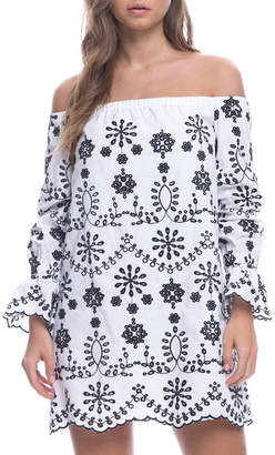 Endless Rose Embroidered Off-The-Shoulder Mini Dress