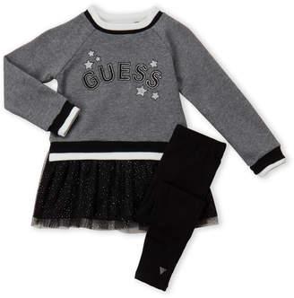 GUESS Girls 4-6x) Two-Piece Star Logo Sweater & Leggings Set