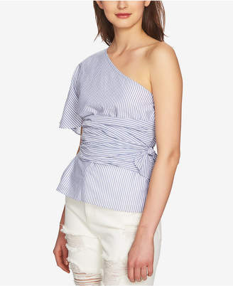 1 STATE 1.STATE Cotton Striped One-Shoulder Wrap Top