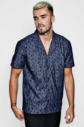 boohoo Printed Denim Short Sleeve Revere Shirt