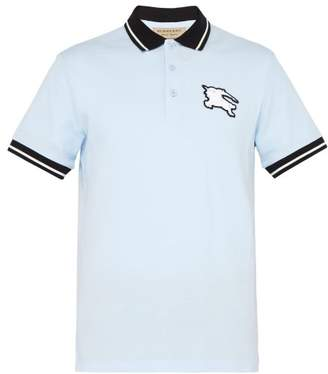 Burberry Logo Patch Cotton Pique Polo T Shirt - Mens - Blue
