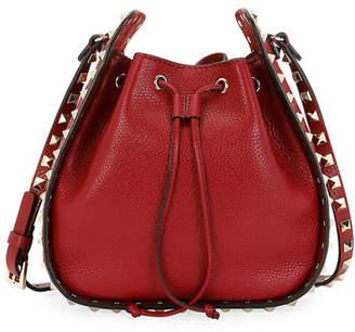 Valentino Rockstud Small Leather Drawstring Bucket Bag