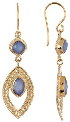 Anna Beck 18K Gold Plated Sterling Silver Blue Chalcedony Marquis Drop Earrings
