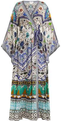 Camilla Long-sleeve kimono maxi-dress