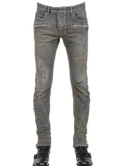 Balmain 18cm Waxed Denim Twisted Leg Biker Jeans