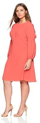 London Times Women's Plus Size Smocked Long Sleeve FIT and Flare Dress