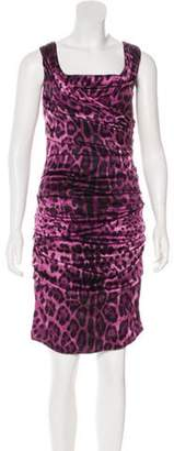 Dolce & Gabbana Silk Ruched Animal Print Dress Purple Silk Ruched Animal Print Dress