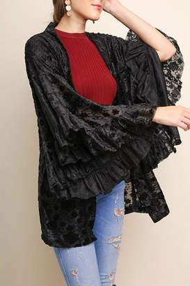Umgee USA Floral Burnout Velvet-Kimono