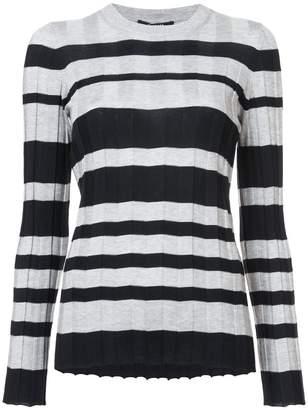 Derek Lam Long Sleeve Striped Wide Rib Crewneck Pullover