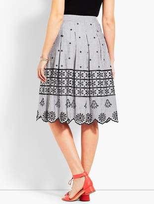 Talbots Eyelet Pleated Stripe Skirt