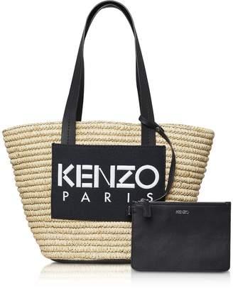 7bbb1a30ef64 Kenzo Logo Patch Raffia Tote Bag