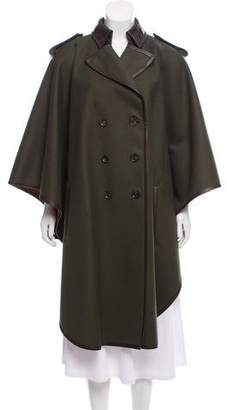 Salvatore Ferragamo Leather-Trimmed Wool Cape