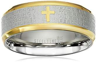 "Stainless Steel 18kt Gold Plated Trimming Engraved with ""The Lord's Prayer"" Written in Spanish Cross Ring"