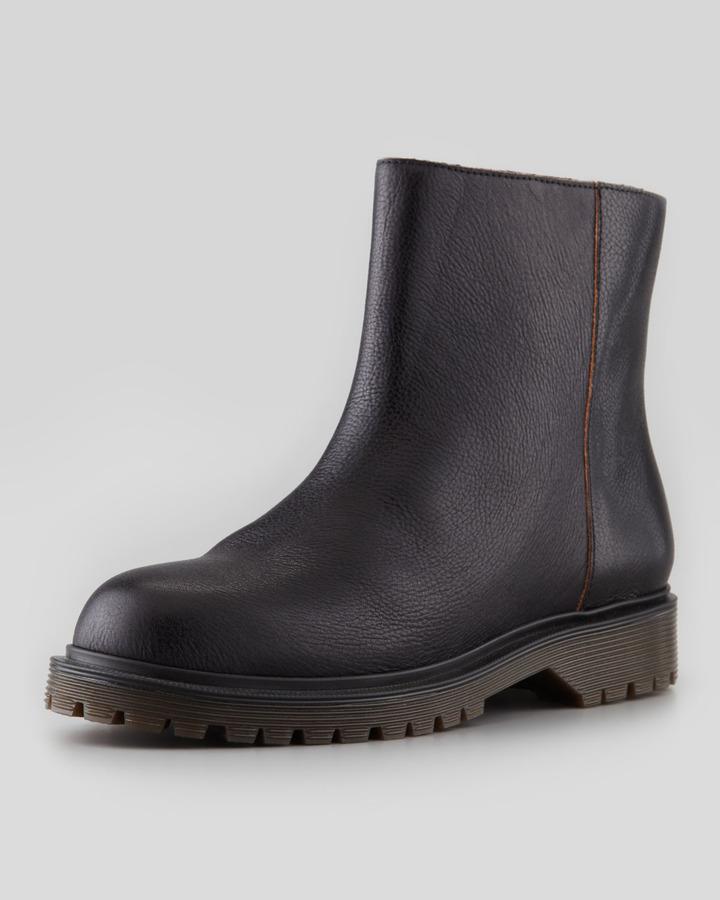 Marni Flat Lug-Sole Ankle Boot, Black