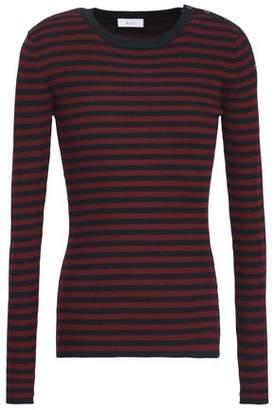 A.L.C. Striped Ribbed Silk-Blend Top