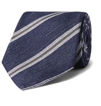 Drakes Kingsman - Drake's 8cm Striped Silk and Linen-Blend Tie - Navy