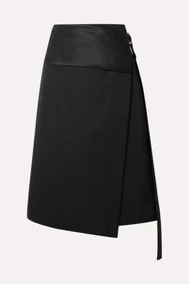 Helmut Lang Satin-paneled Wool-twill Wrap Skirt - Black
