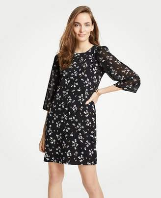 Ann Taylor Floral Chiffon Sleeve Shift Dress