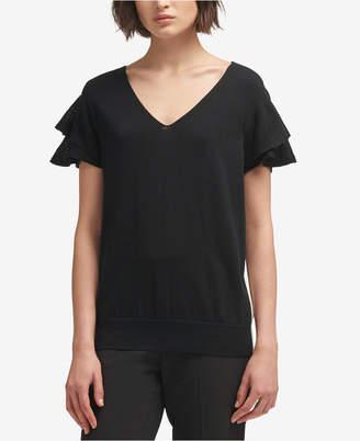 DKNY Cotton Side-Stripe Ruffled Top