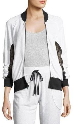 Terez Ash French Terry Fishnet Bomber Jacket, Gray/Black $125 thestylecure.com