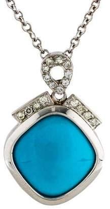 Turquoise & Diamond Pendant Necklace