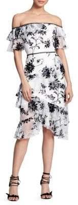 Marchesa Off-The-Shoulder Lace-Trim Sheath Dress