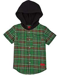 Haus of JR Kids' Cotton Hooded Shirt-Green