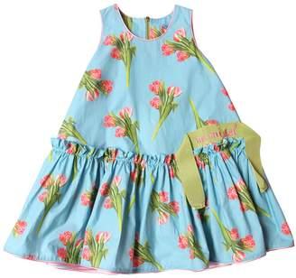 Tulips Print Cotton Poplin Dress