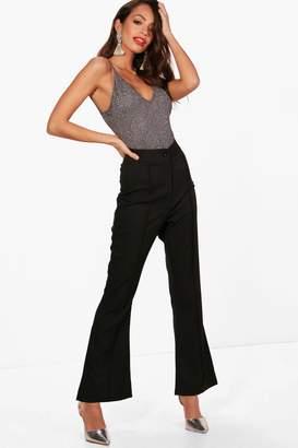 boohoo Woven Pintuck Detail Slim Flare Trouser