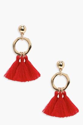 boohoo Hammered Hoop Tassel Earrings