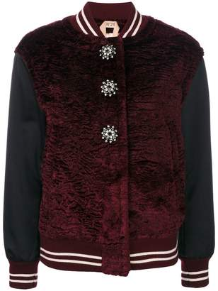 No.21 button embellished bomber jacket