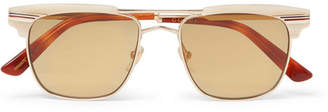 Gucci D-Frame Acetate and Gold-Tone Sunglasses - Brown