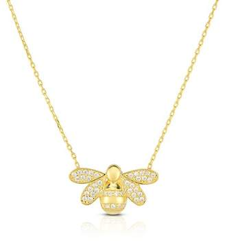 Bumble Bee Sphera Milano 18K Yellow Gold Vermeil CZ Pendant Necklace
