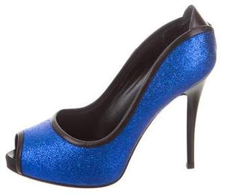 Giuseppe Zanotti Glitter Embellished Peep-Toe Pumps
