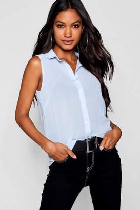 boohoo Sleeveless Button Through Shirt