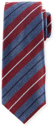 Kiton Textured Large-Stripe Silk Tie